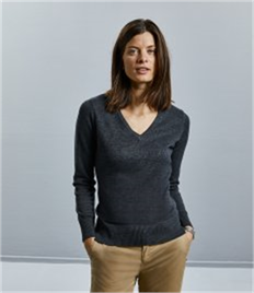 Russell Ladies' V-Neck Knitted Pullover