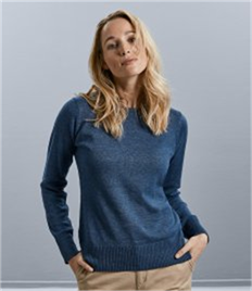 Russell Collection Ladies Cotton Acrylic Crew Neck Sweater