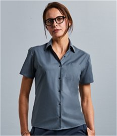 Russell Col Lady S/S PolyCot Poplin Shirt