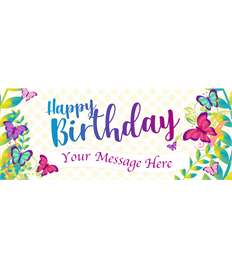 6ft Happy Birthday Banner (Butterfly)
