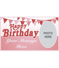 4ft Happy Birthday Banner (Retro Pink)